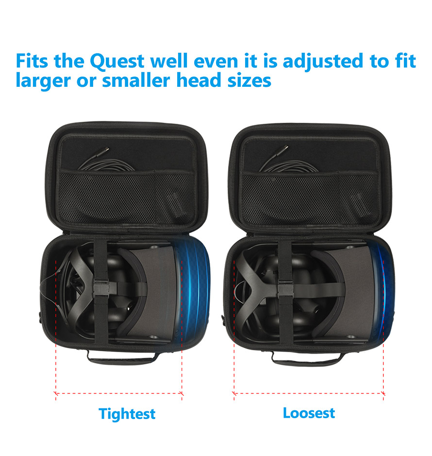 JSVER Case for Oculus Quest 2,Hard Shell EVA All-in-one VR Gaming Headset Case for Oculus Quest//Oculus Quest 2 with official Elite Strap Carrying Protective Box with Shoulder Strap Black